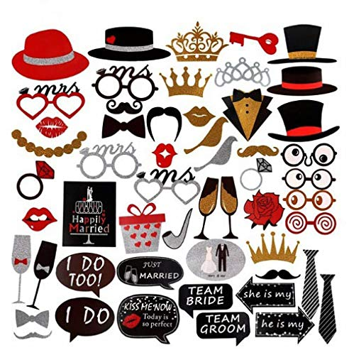 Taka Co Photo Booth Props Wedding Mr Mrs Just Married Wedding Photo Booth Props Team Bride Groom Photobooth Party Favors Wedding Decor Event Supplies -