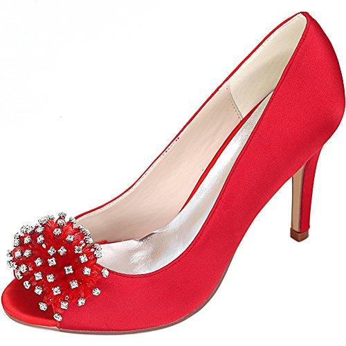 Alti Strass Peep Toe Stiletto Y5623 Seraph Tacco Col Tacchi 12z Donne Raso Décolleté Scarpe Nuziale Red Bridal Partito P1vPwRxHq