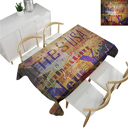 familytaste New York,Christmas Tablecloth,Grunge Style Complex Artsy Montage NYC Letters on Magazine Cover Popular Brooklyn,Polyester Washable Table Cover 60