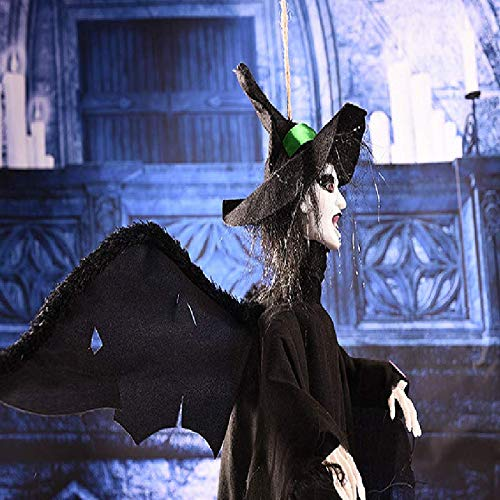 YC DOLL Halloween Halloween Halloween Hängende Geister Arrangierte Requisiten, Augen Glühende Stimme Kontrolle Geister, Hängend Animierte Sprechende Hexe Halloween Haunted Haus Prop Dekor, Schwarz, 62  65 cm 69b2c5