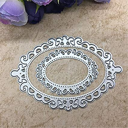 Store Decorative 2pcs Oval Cutting Dies Hollow Out Template Lace