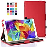 "MoKo Samsung Galaxy Tab S 8.4 Case - Slim-Fit Multi-angle Folio Cover Case with Auto Wake / Sleep and Stylus Pen Loop for Samsung Galaxy Tab S 8.4"" Tablet, RED (Will NOT Fit tab pro 8.4)"