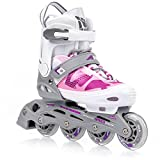 Meteor Inline Skates Children's Kids Inliners Roller Skates Roller Blades ABEC 7 Carbon Children's Inline Skates Adjustable Shoe Size AREA (S(31-34, 12,5-2 UK), Pink)