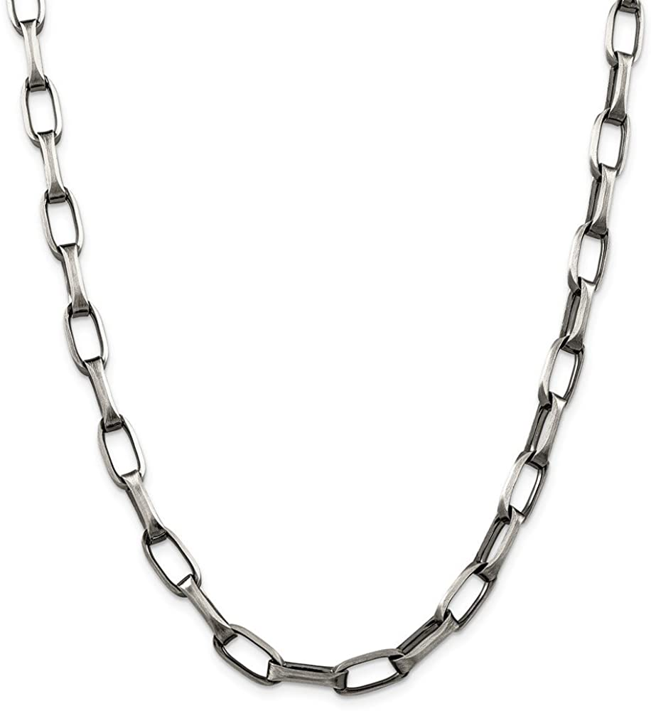 925 Sterling Silver 8mm Antiqued Oval Link Chain 22 Inch