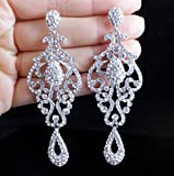 Large Pageant Austrian Crystal Rhinestone Chandelier Dangle Earrings Prom E2090 2 Colors Gold or Silver (Silver)