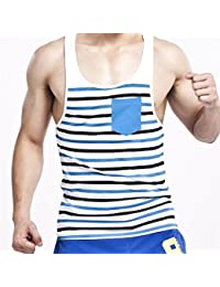 CHAOHUYIFANG Men Fashion Vest Slim Fit Sexy Striped Tank Tops Cotton Sleeveless Shirt T-Shirts With Pocket