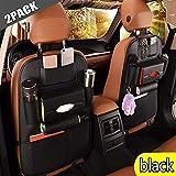 2Pack PU Leather Premium Car Backseat Organizer,Baby Travel Accessories, Car Seat Back Organizer