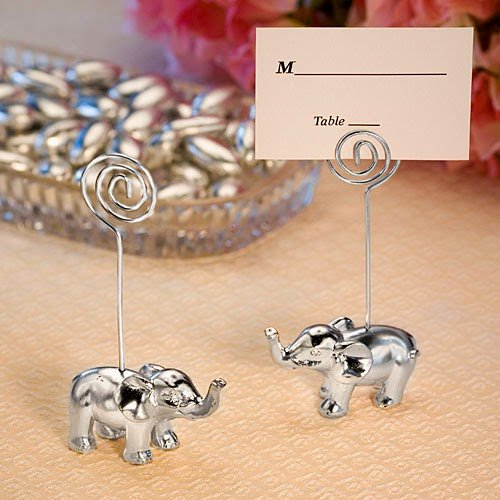 Silver Elephant Place Card Holders (40 Silver Finish Elephant Place Card Holders)