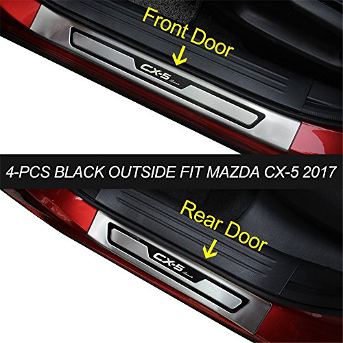 KPGDG 4 PCS Fit for All New Mazda CX-5 CX5 2017 2018 2019 Stainless Steel External Door Sill Scuff Plate Guard Sills Protector Trim - Black