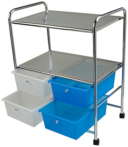 Mind Reader All Purpose Utility Cart with Handles and 4 Storage Drawers, Silver
