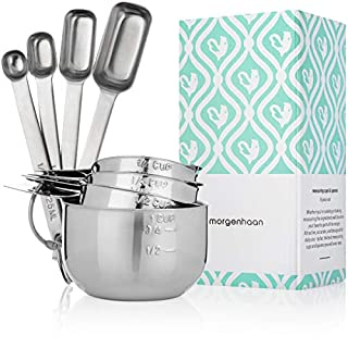 Morgenhaan Stainless Steel Measuring Cups and Spoons, Measuring Set of 8 Pieces: 4 Spoons and 4 Cups