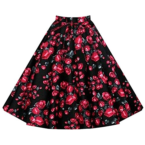 Walant-Women-Pleated-Vintage-Retro-High-Waisted-A-line-Floral-Print-Skirts