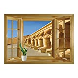 SCOCICI Wall Mural, Window Frame Mural/Pillar Decor,The Facade of Hatshephut Temple Decorated with The Osirian Statues Print,Earth Yellow/Wall Sticker Mural