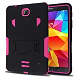 Galaxy Tab 4 Case, kUTECK Heavy Duty rugged impact Dual Layer Hybrid Case cover with Build In Kickstand Protective Case cover For Samsung galaxy Tab 4 7 inch T230 Tablet case cover (Pink)