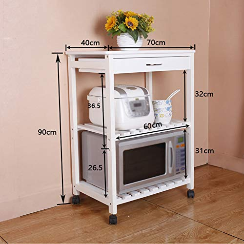 Microwave Oven Rack Kitchen Rack, Floor Solid Wood Multi-Layer Storage Rack Removable Multi-Function Trolley, with Universal Wheel by Kitchen Cart (Image #1)