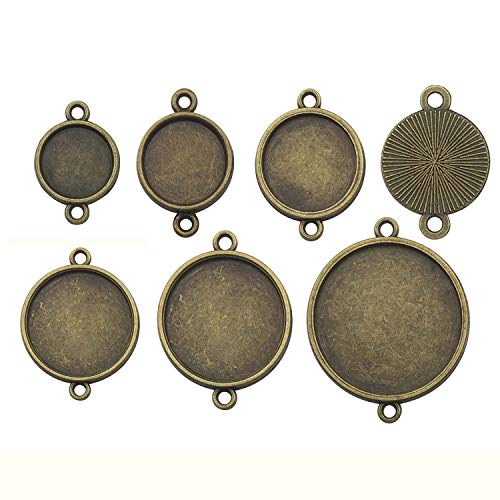 (48pcs Mixed Blank Connector Round Pendant Trays Collection, Single Sided, Antique Bronze Tone, Fit 12mm 14mm 16mm 18mm 20mm 25mm Cabochon, Base Setting Bezel Frame Cameo (HM169))