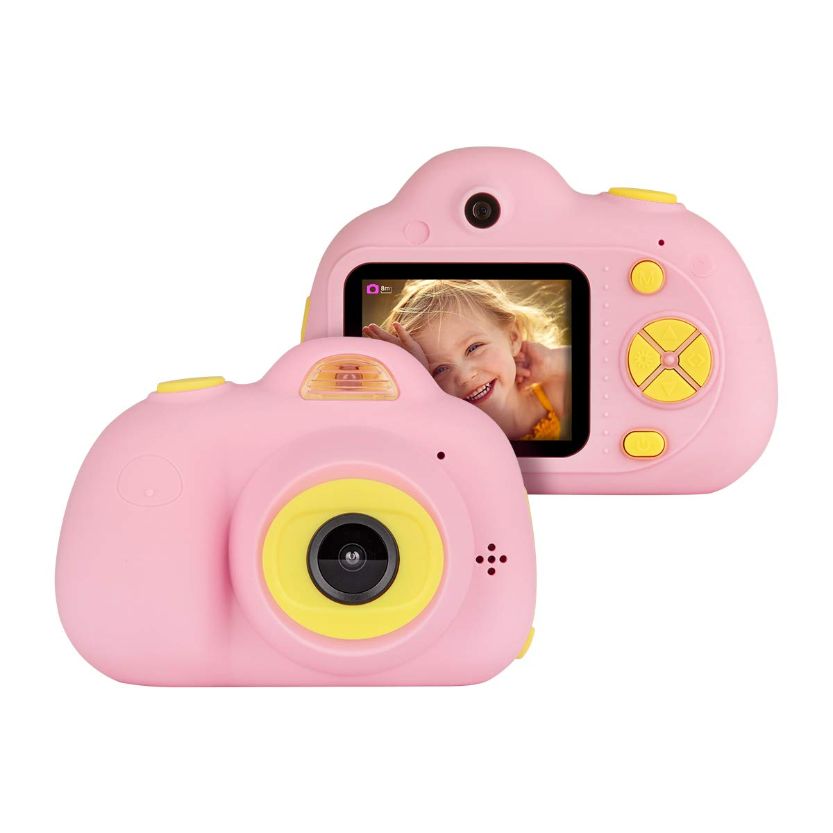 Kids Cameras Dual Selfie Digital Camera HD Video Recorder Action Camera Camcorder for 4-9 Year Old Kids Birthday Festival Gifts Toys for Children Boys Girls 2.0'' LCD Screen 4X Digital Zoom (Pink) by Tyhbelle (Image #1)