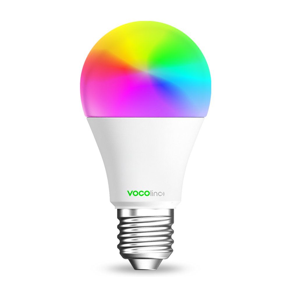 Alexa A19 E26 Lighting Effects 013000001 Works with Apple HomeKit 1 Pack No Hub Required Multicolor Wi-Fi 2.4GHz Dimmable VOCOlinc Smart Wi-Fi LED Light Bulb Google Assistant Compatible L1