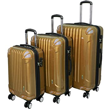 Image of Luggage AMKA 3-Piece TSA Locks Hardside Upright Spinner Luggage Set-Gold