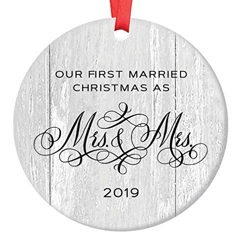 - Lesbian Marriage Gifts for the Couple Gay Newlywed First Christmas Wedding Ornament 2019 Mrs & Mrs 1st Xmas 3