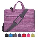 Laptop Case, Laptop Shoulder Bag, CROMI 13 - 13.3 Inch Simplicity Slim Briefcase Commuter Bag Business Sleeve Carrying Handle Bag Nylon Waterproof Notebook Shoulder Messenger Bag (Stripe Pink)