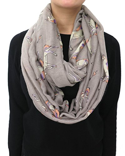 Lina & Lily Unicorn Horse Print Infinity Women's Scarf Lightweight (Grey)