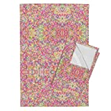 Roostery Pointillism Tea Towels Hearts' Ease Pointillism In Mirror Repeat by Anniedeb Set of 2 Linen Cotton Tea Towels