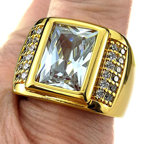 wayne-Size 8-15 Jewelry Man's AAA Sapphire 18K Gold Filled Ring R199 ()