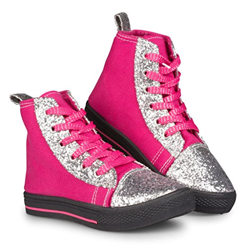 [D608-PNK-2] Girls High Top Sneakers: Canvas Lace Up Shoes with Bling, Size 2 (That 70s Show Outfits)