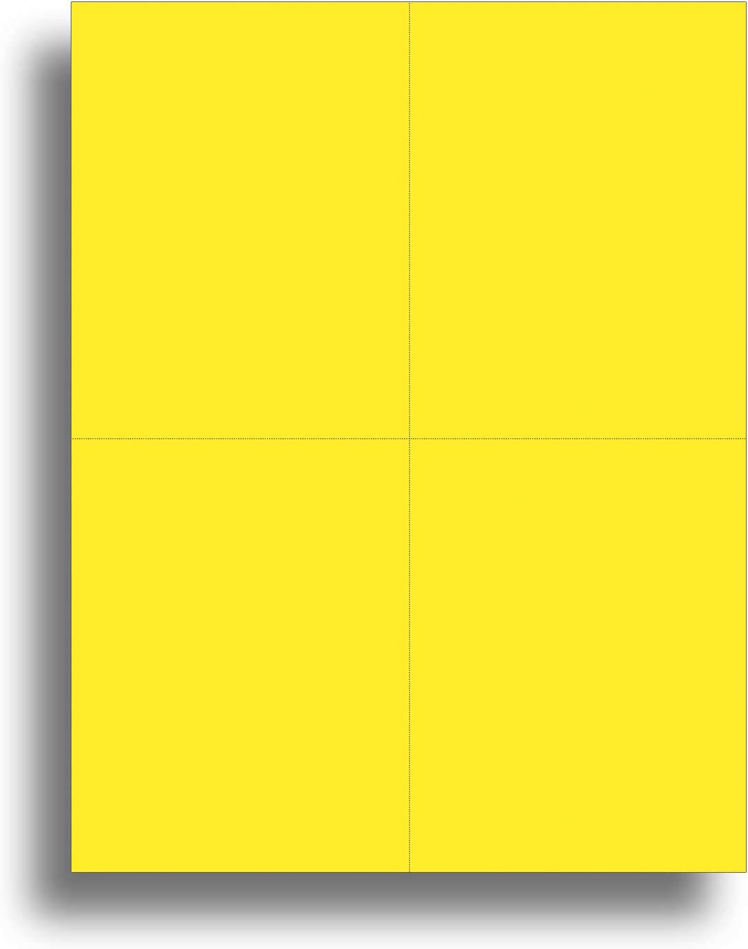 Blank Colored 4-up Postcard Paper by Desktop Publishing Supplies - 25 Sheets / 100 Postcards Pack - Printable with Laser or Inkjet Printer - USPS Approved Size - Plain Matte Cardstock (Bright Yellow)