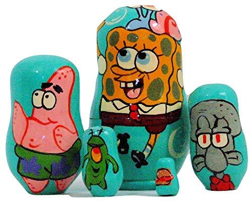 5pcs Hand Painted Russian Nesting Doll of Spongebob Squarepants (4 inches Tall)