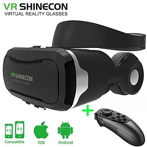 VR Shinecon Headset with Stereo Headphones and Bluetooth Remote 3D Movie Games Glasses Virtual Reality Headset Goggles Helmet fits the Myopia for 3.5 - 6.0 inches Android & iOS Smartphones ( Black)