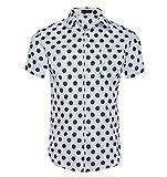 CATERTO Men's Premium Polka Dot Print Casual Shirt Short Sleeve Cotton Shirts White M