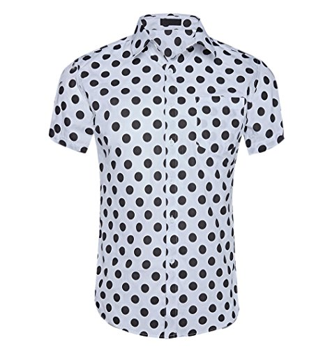 CATERTO Men's Premium Polka Dot Print Casual Shirt Short Sleeve Cotton Shirts White S