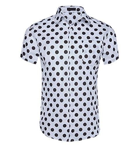 - CATERTO Men's Premium Polka Dot Print Casual Shirt Short Sleeve Cotton Shirts White L