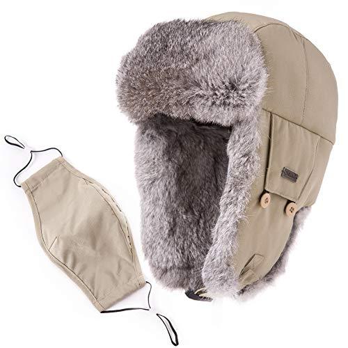 Mens Womens Rabbit Fur Winter Hunting Waterproof Bomber Trapper Flaps Cap Ushanka Russian Hat 24