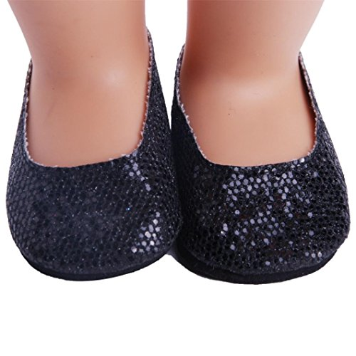 Digood For 18 inch Our Generation American Girl Doll Glitter Sequins Mary Jane Flats Shoe (Black) Dolls Black Mary Jane Shoes