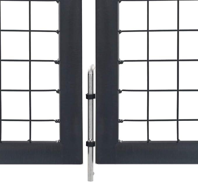 valla de jard/ín puerta de metal 1 x 1,8 m puerta de patio color: antracita color verde y antracita Puerta de jard/ín