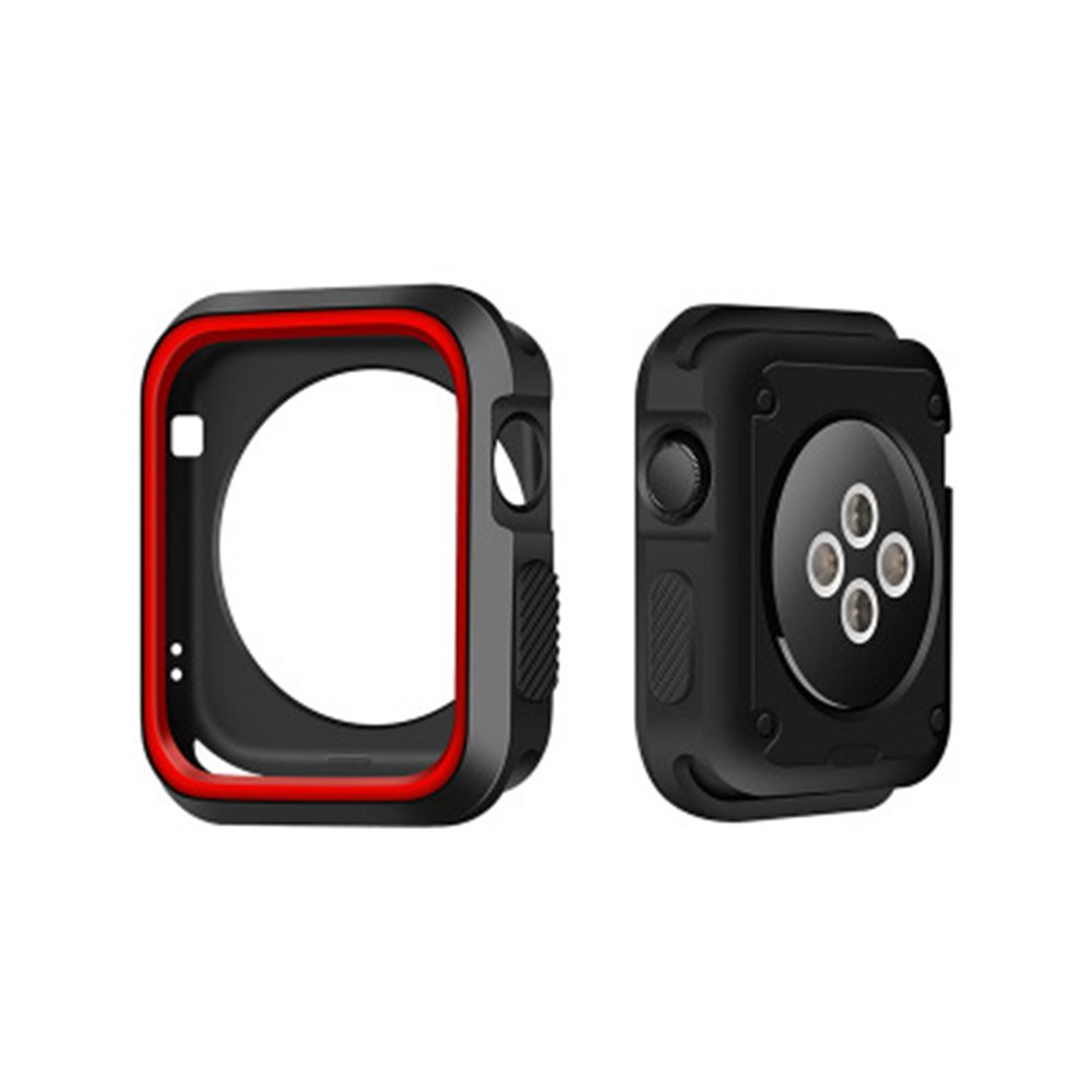 GerTong Armor Apple Watch Case 38mm with Resilient Shock Absorption for Apple Watch Series 3 2 1 and Nike Sport Edition (Black and red) by GerTong (Image #1)