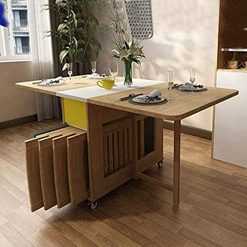 Amazon Com Shozafia Foldable Kitchen Table Rolling Wood Folding Dining Table Chairs Not Included On Wheels For Small Spaces Space Saving Dining Set Table Chair Sets