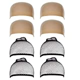 8 Pieces Wig Caps - HYHP 4 Pcs Dark Skin Color Stretchy Close End Stocking Wig Caps & 4 Pcs Black Mesh Wig Caps