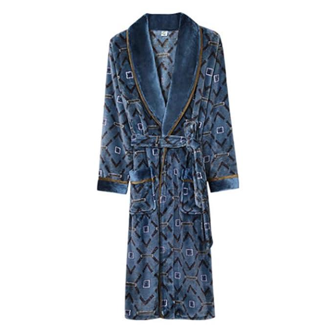 Otoño Invierno Bata Padre Albornoz Franela Camisón Pijamas De Los Hombres De Moda Larga Loungewear: Amazon.es: Ropa y accesorios