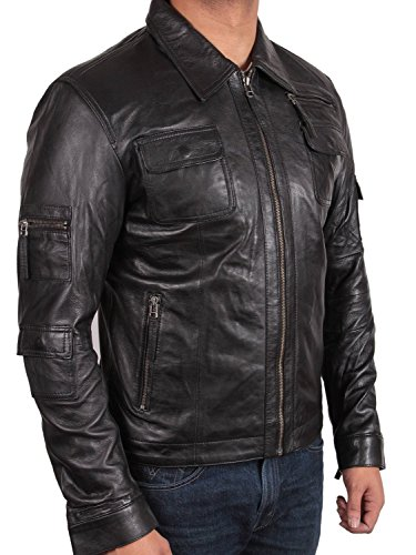 para negro UK motero de 5 Motor chaqueta Slim Vintage de de piel L outwear piel abrigo Fit hombre nbsp;X biker small chaqueta de 8xFqvPn8w