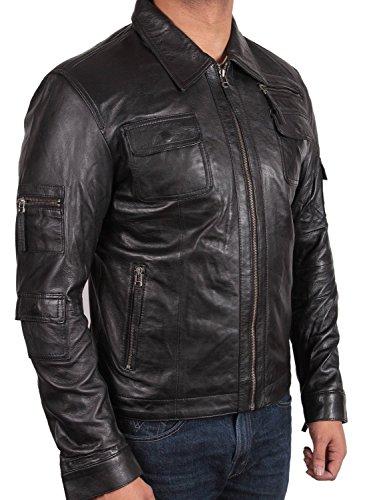 de de piel chaqueta Slim piel chaqueta motero outwear UK biker negro Motor hombre abrigo 5 nbsp;X L de small Vintage de Fit para 7q5ZZIWp