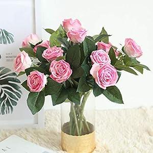 Smileshop01 1pc 2 Heads Rose Flower Artificial Flowers Simulation Silk Flower Wedding Decoration Rose Bouquet Flower Home Decoration,hot Pink 4