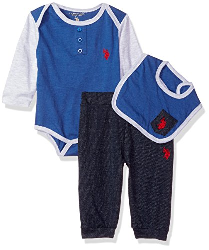 U.S. Polo Assn. Baby Boys Creeper, Bib or Hat and Pant Set
