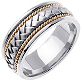 14K Two Tone (White and Yellow) Gold Braided Basket Weave Men's Wedding Band (8.5mm) Size-11c2