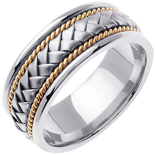 14K Two Tone (White and Yellow) Gold Braided Basket Weave Men's Wedding Band (8.5mm) Size-10.5c2