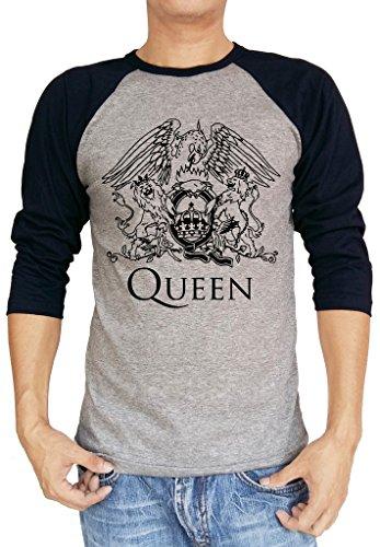 EmoBug Queen Band Music Freddie Baseball Tee Raglan 3/4 Sleeve T Shirt XX-Large Heather Grey/Navy Blue ()