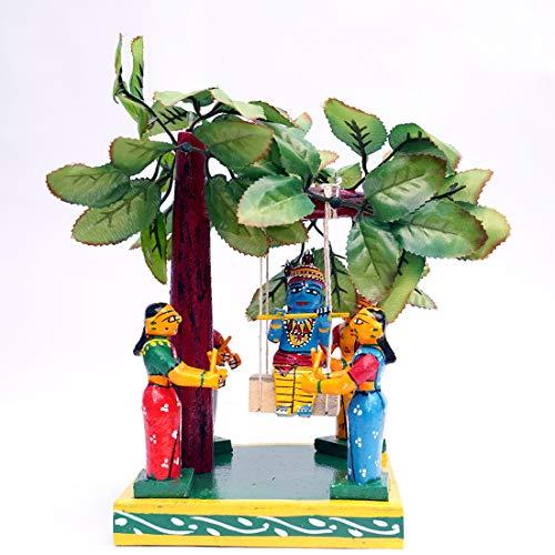 ANDHRA HAND CRAFTS -KONDAPALLI Krishna and Four GOPIKA with JULA 6X6X9